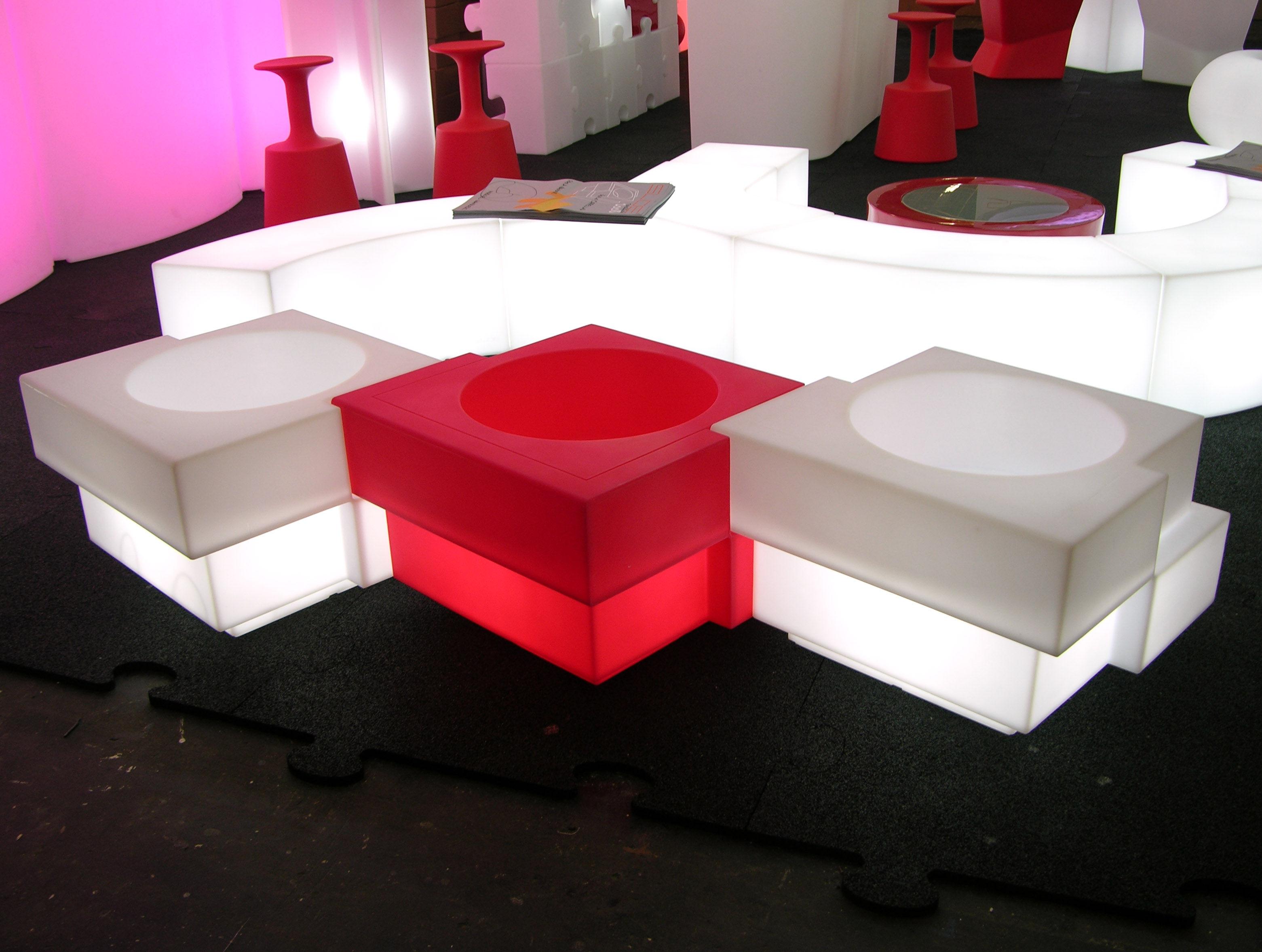 D?tails sur Table basse lumineuse Ypsilon Indoor  Pouf  Slide Blanc