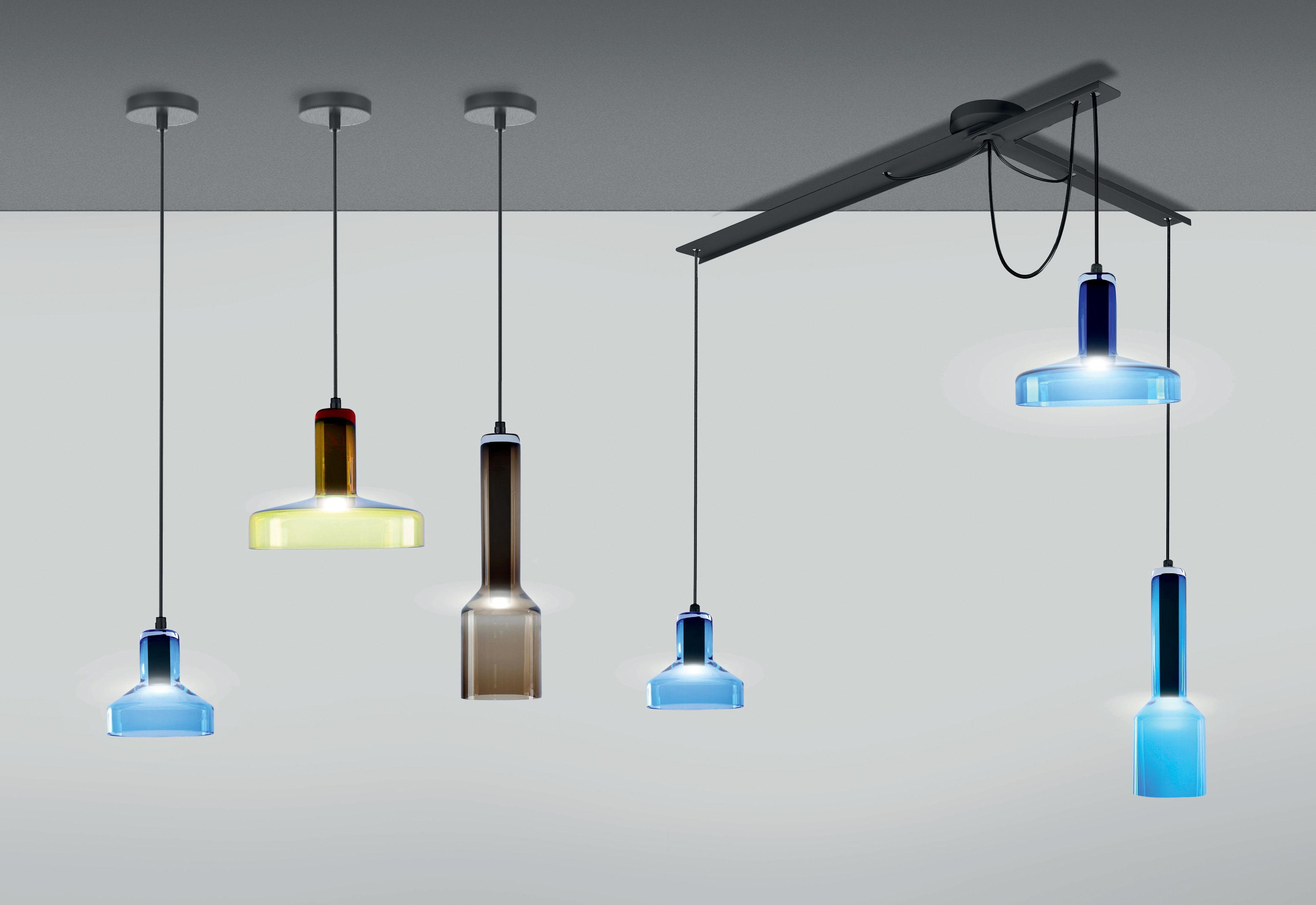 suspension stab light triple set 3 suspensions verre artisanal multicolore danese light. Black Bedroom Furniture Sets. Home Design Ideas