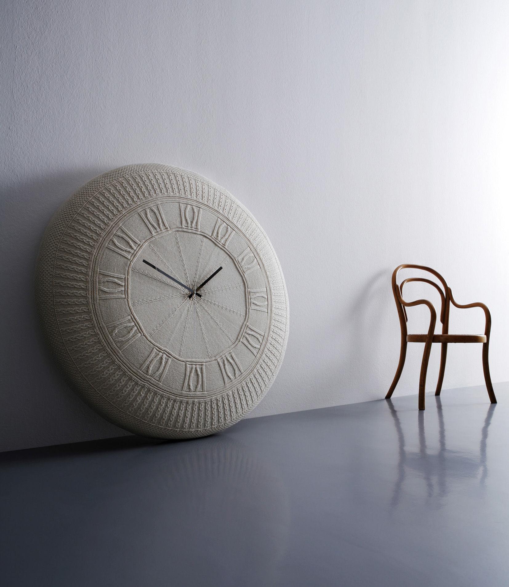 Horloge murale gomitolo large / coton   Ø 90 cm blanc cassé ...