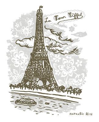 Foto Sticker La Tour Eiffel - 50 x 50 cm di Domestic - Grigio - Carta