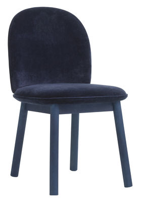 Foto Sedia imbottita Ace / Velluto & legno - Normann Copenhagen - Blu scuro - Tessuto