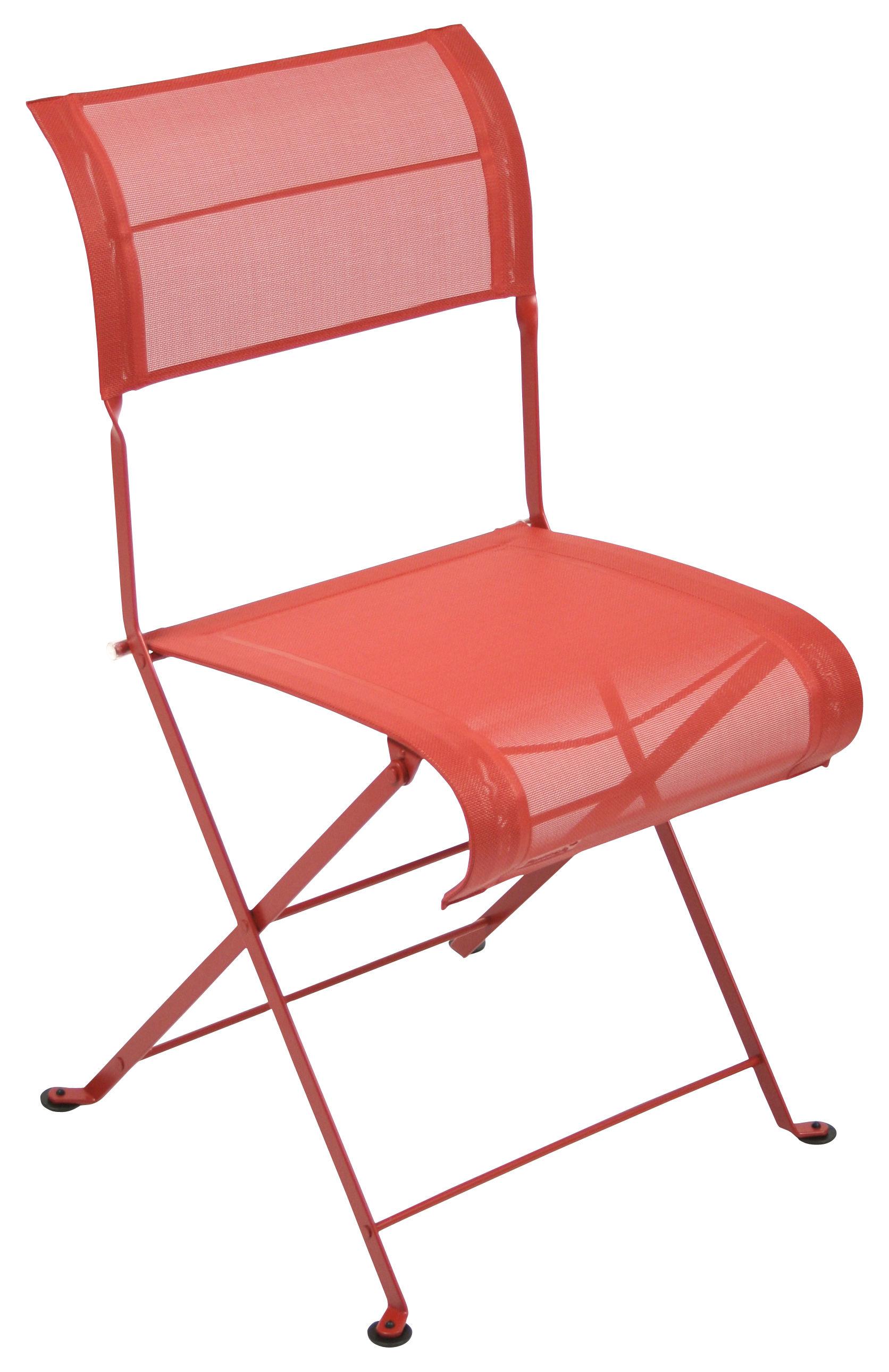 Chaise pliante dune toile coquelicot fermob - Chaise pliante en toile ...