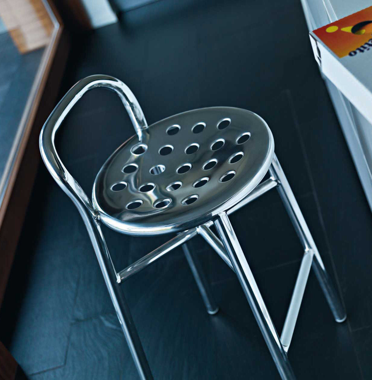 pipe bar stool h 77 cm metal polished aluminium by magis on