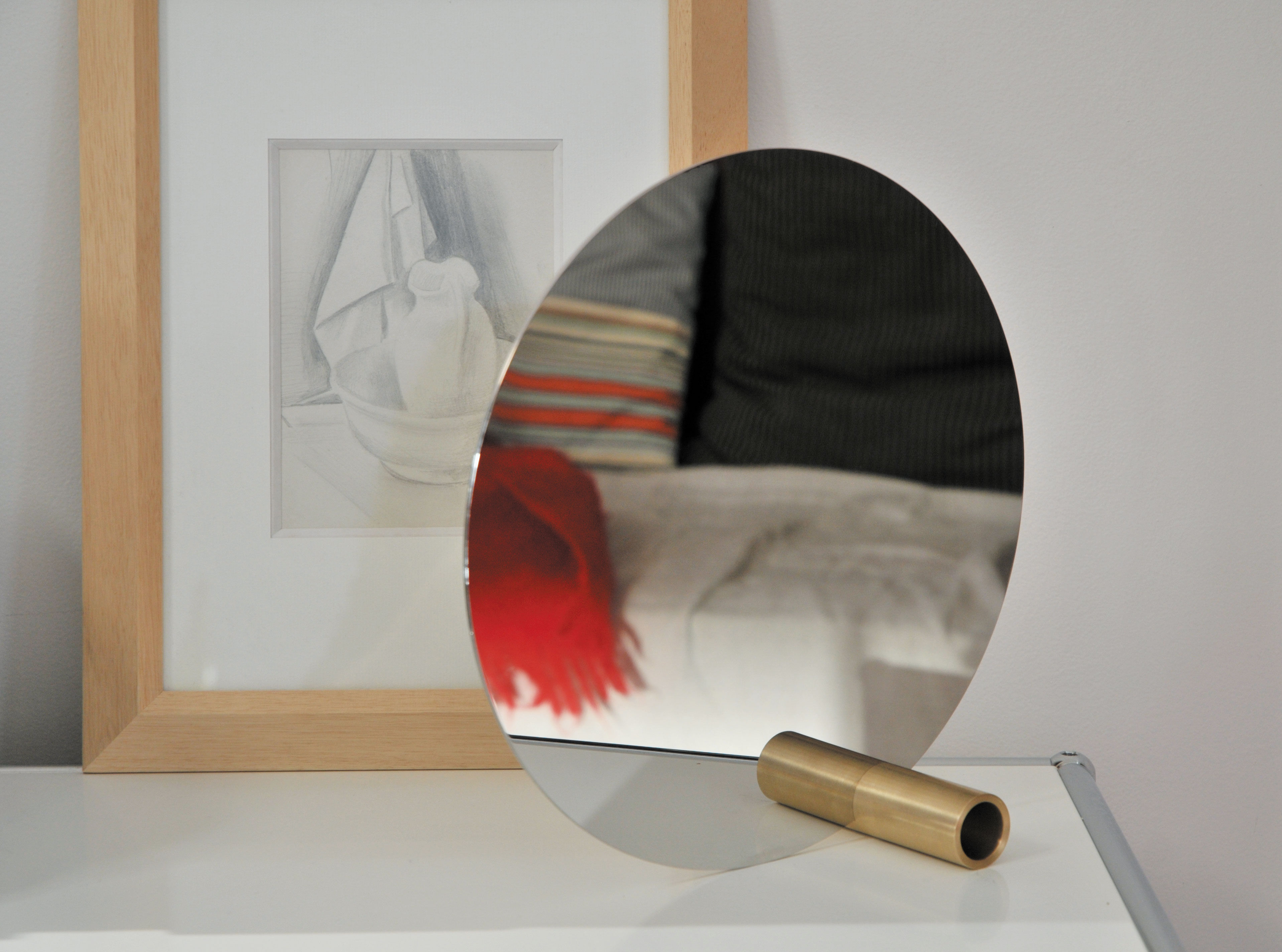 Miroir disque 30 cm miroir base laiton l 39 atelier d for Disque en miroir