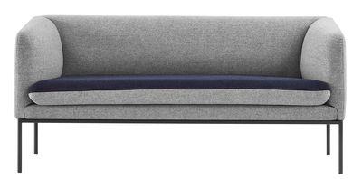 Canap droit turn l 160 cm 2 places gris clair bleu for Canape 2 places 160 cm