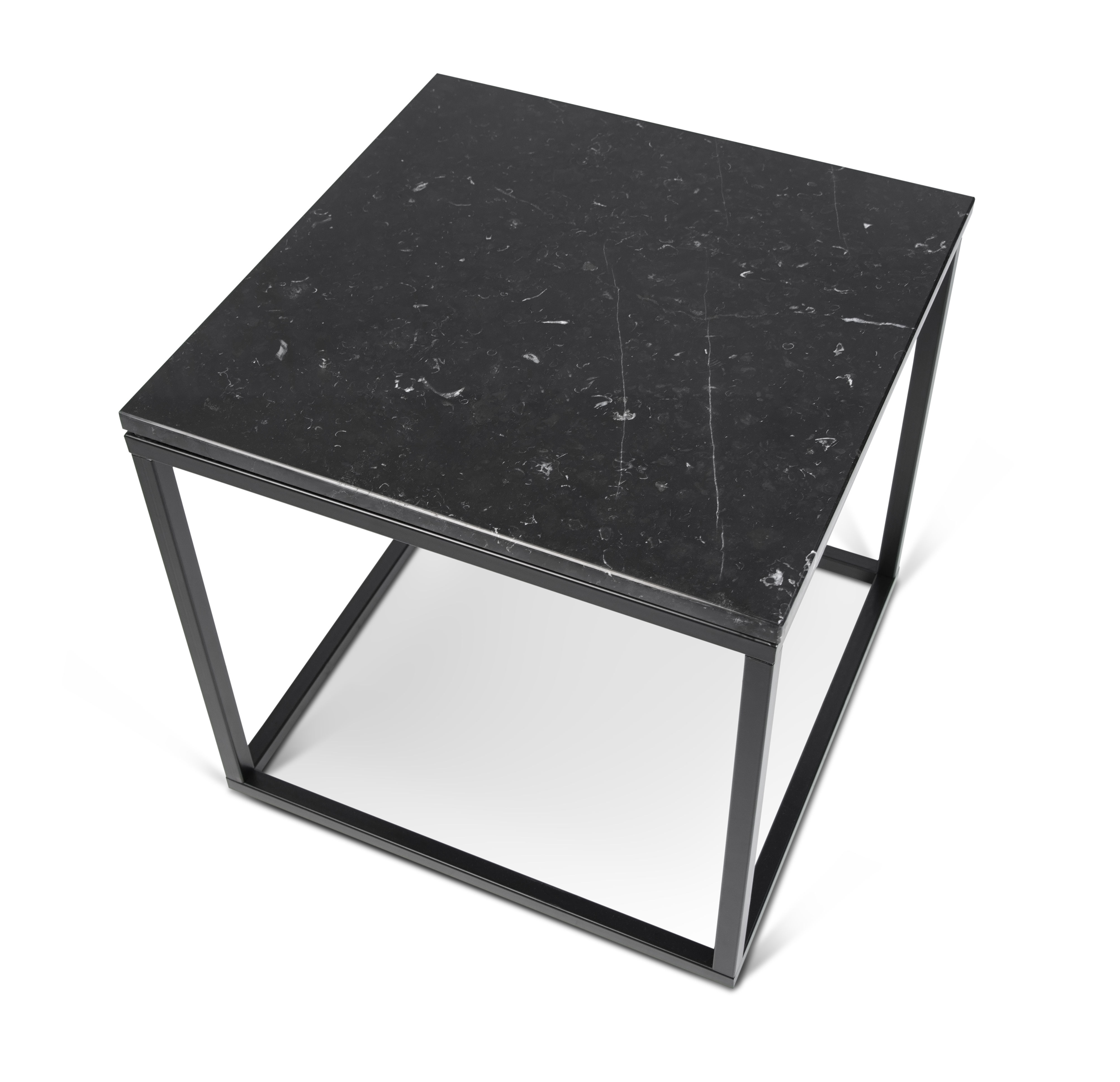 Marble Coffee Table Marble 50 X 50cm Black Marble Black Leg By Pop Up Home