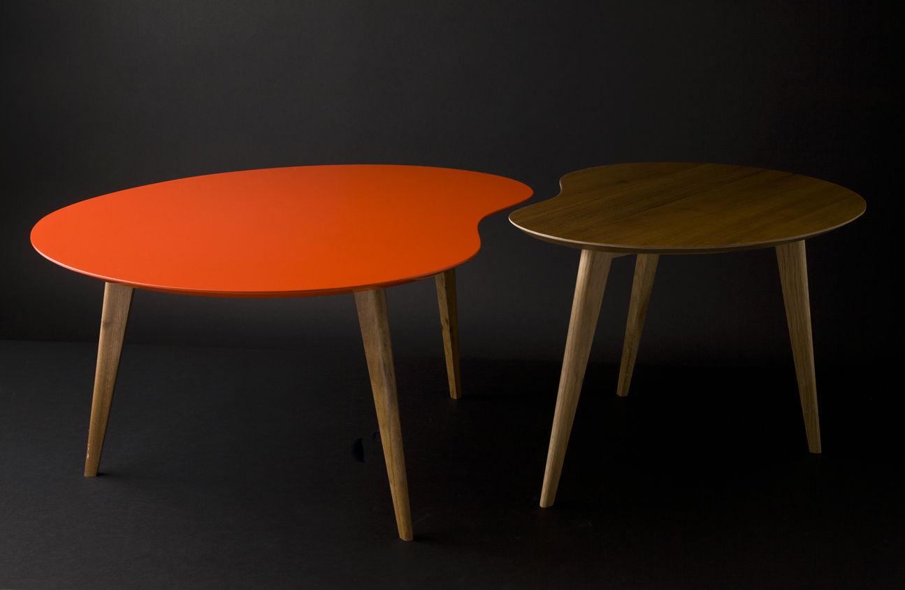 Table basse lalinde xxl haricot l 130cm pieds bois gris pieds ch ne s - Table basse design 3 pieds ...