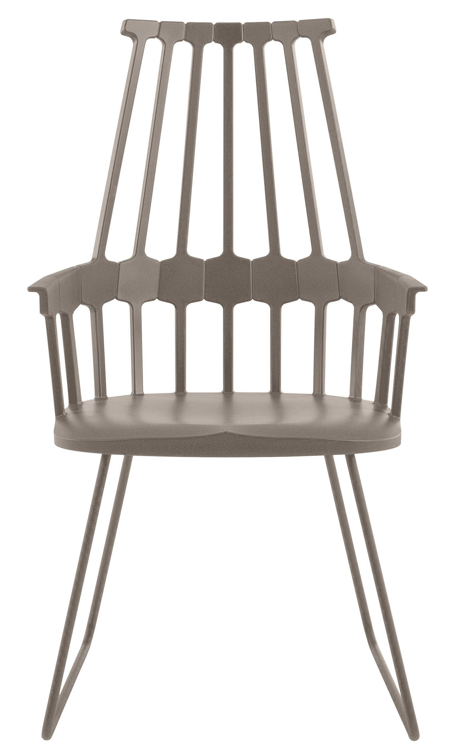 fauteuil comback polycarbonate pied luge m tal noisette kartell. Black Bedroom Furniture Sets. Home Design Ideas