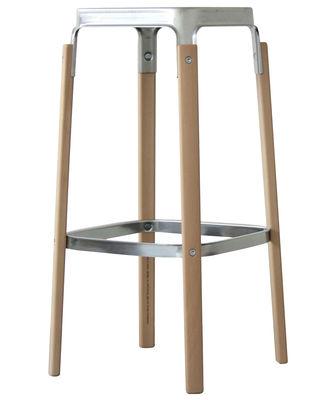 Foto Sgabello bar Steelwood - / H 78 cm di Magis - Faggio,Acciaio galvanizzato - Metallo