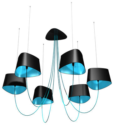 suspension grand nuage 6 abat jours pvc noir laqu int rieur tissu bleu designheure. Black Bedroom Furniture Sets. Home Design Ideas