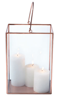 photophore lanterne h 30 cm cuivre transparent leonardo. Black Bedroom Furniture Sets. Home Design Ideas