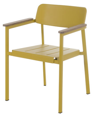 Fauteuil empilable shine m tal accoudoirs bois jaune for Salle a manger jaune moutarde
