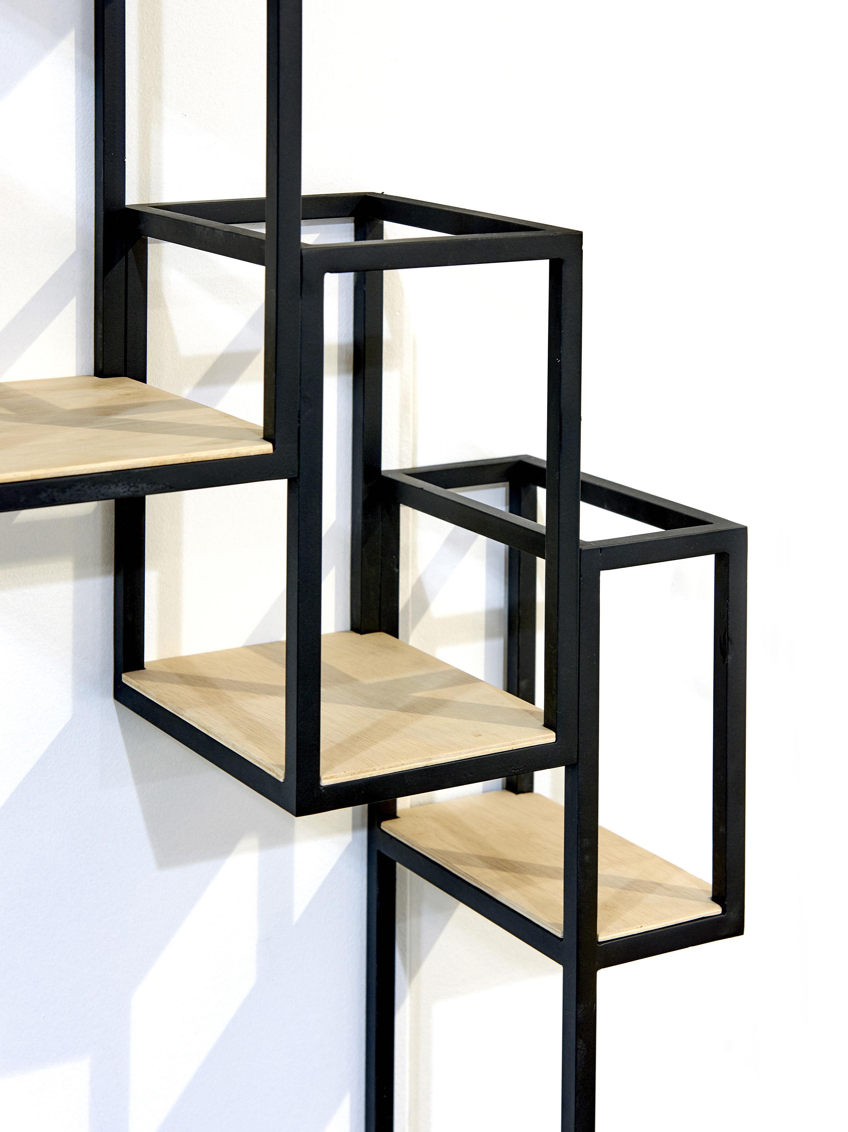 biblioth que jointed murale 152 x 115 cm noir bois serax. Black Bedroom Furniture Sets. Home Design Ideas