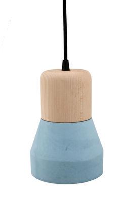 Foto Sospensione Cement Wood / Ø 13 cm - Spécimen Editions - Blu,Legno naturale - Legno
