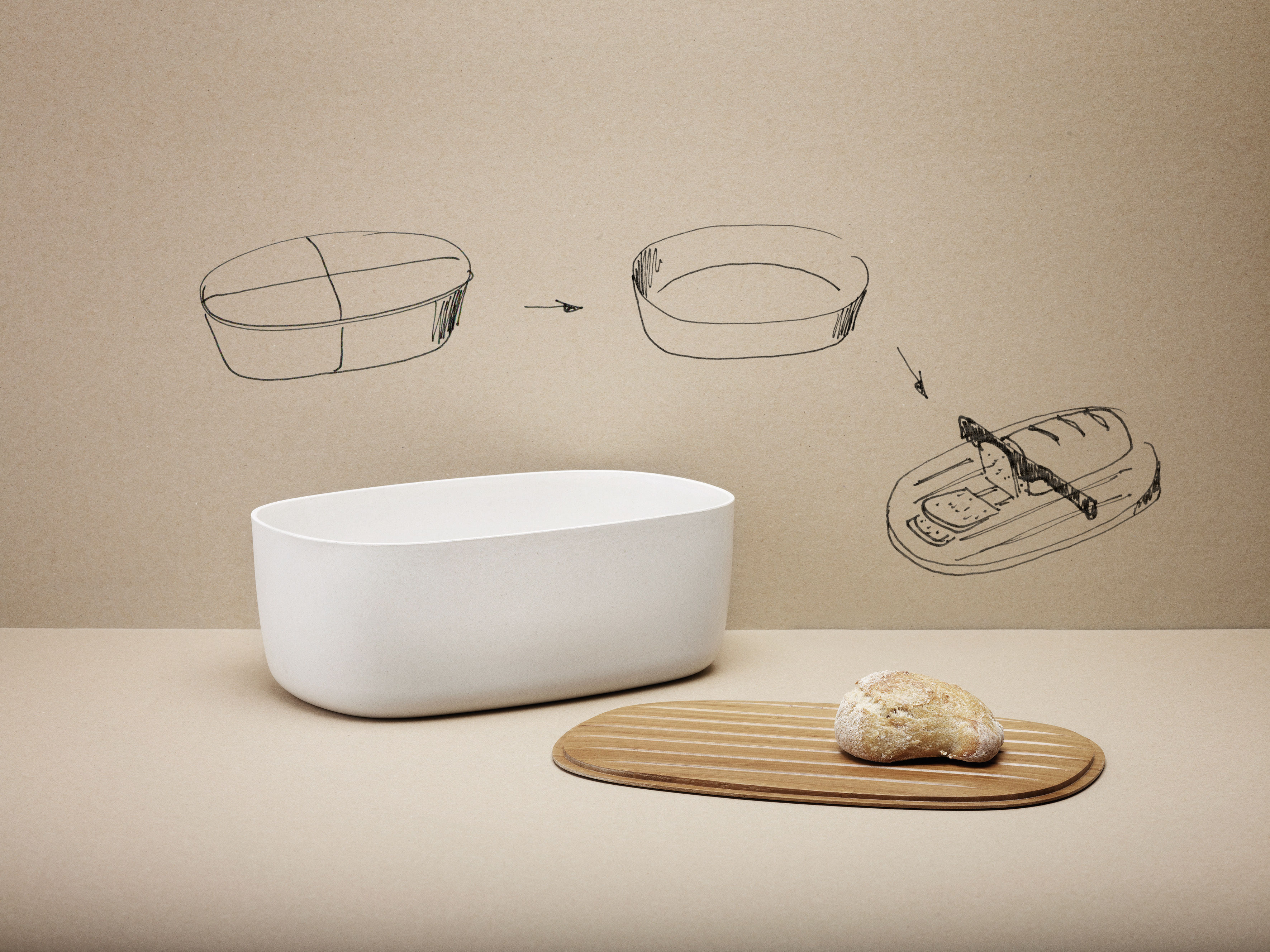 bo te pain couvercle planche d couper blanc bois stelton. Black Bedroom Furniture Sets. Home Design Ideas