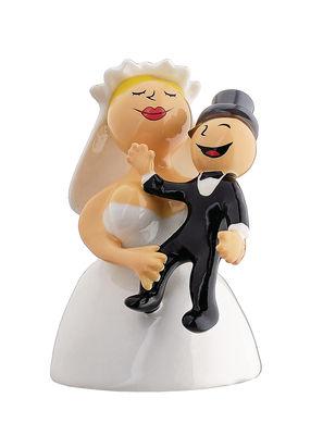 Foto Statuina Abbracciami amore mio / Per torta nuziale - A di Alessi - Bianco,Nero - Ceramica Figurina