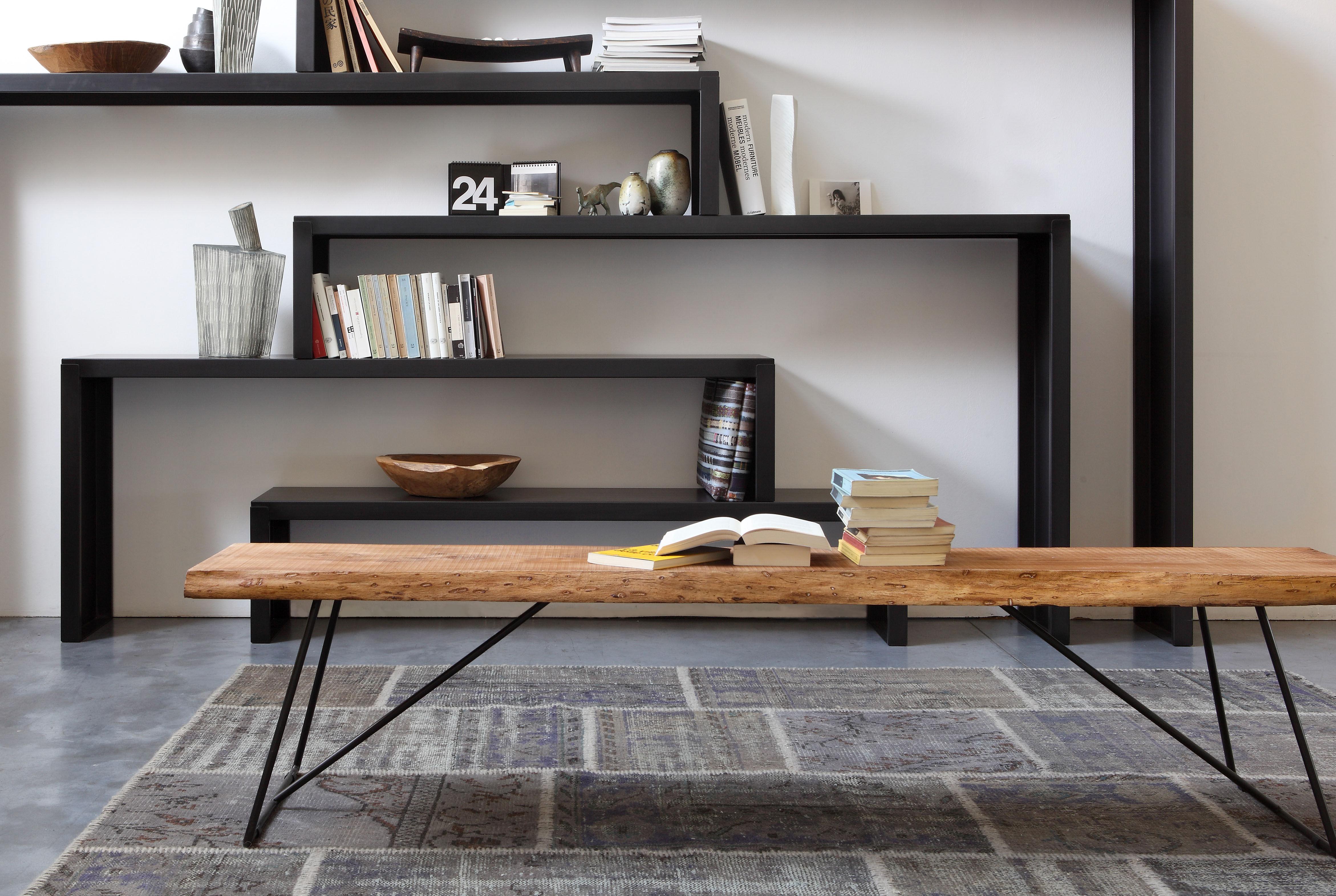 banc old times l 190 cm bois bois naturel pied noir. Black Bedroom Furniture Sets. Home Design Ideas