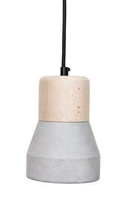 Foto Sospensione Cement Wood - / Ø 13 cm di Spécimen Editions - Grigio,Legno - Legno