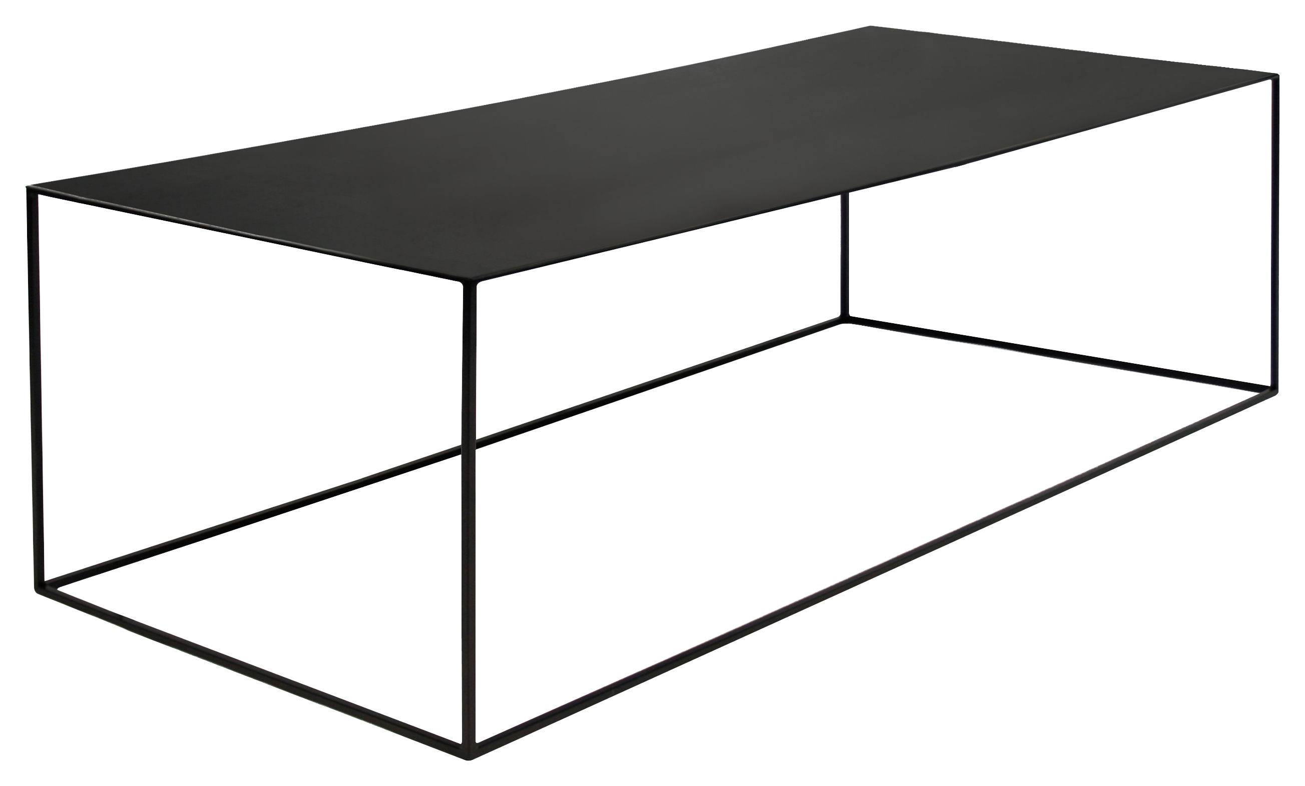 table basse slim irony 124 x 62 x h 34 cm m tal noir pied noir cuivr zeus. Black Bedroom Furniture Sets. Home Design Ideas