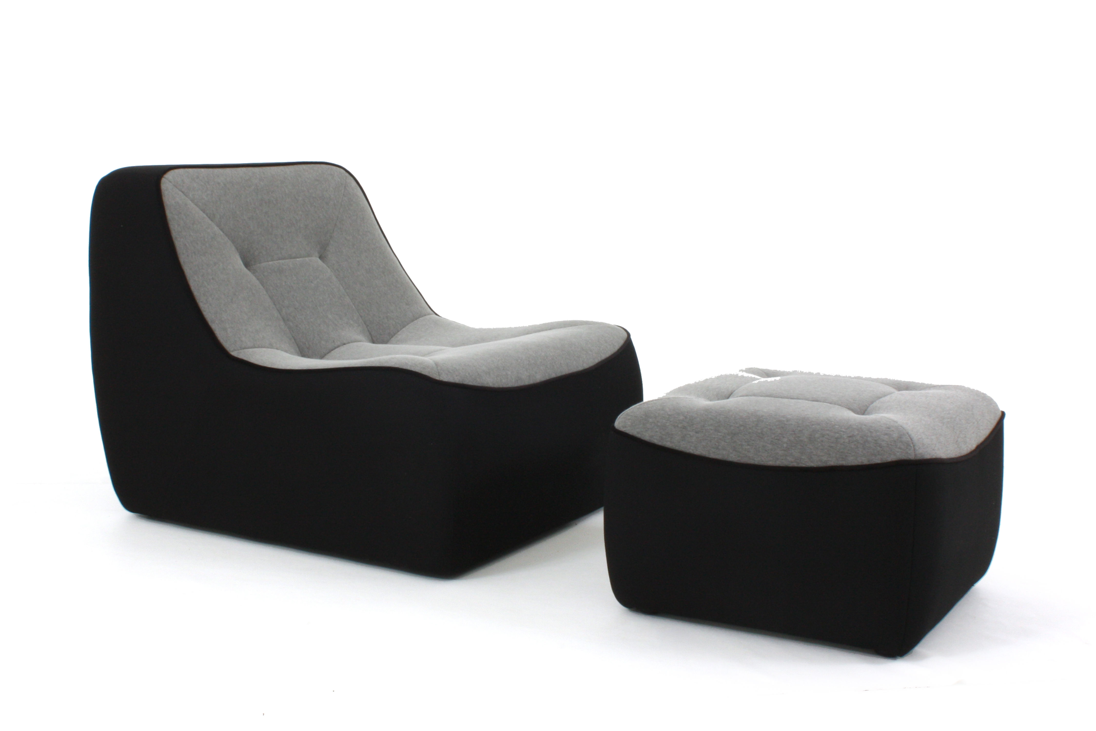 Pouf tchubby by ora ito noir gris chin passepoil noir for Canape dunlopillo ora ito