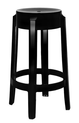 tabouret haut empilable charles ghost h 65 cm plastique noir opaque kartell. Black Bedroom Furniture Sets. Home Design Ideas