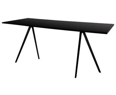 Table baguette mdf 160 x 85 cm pied noir plateau mdf for Bureau 85 cm
