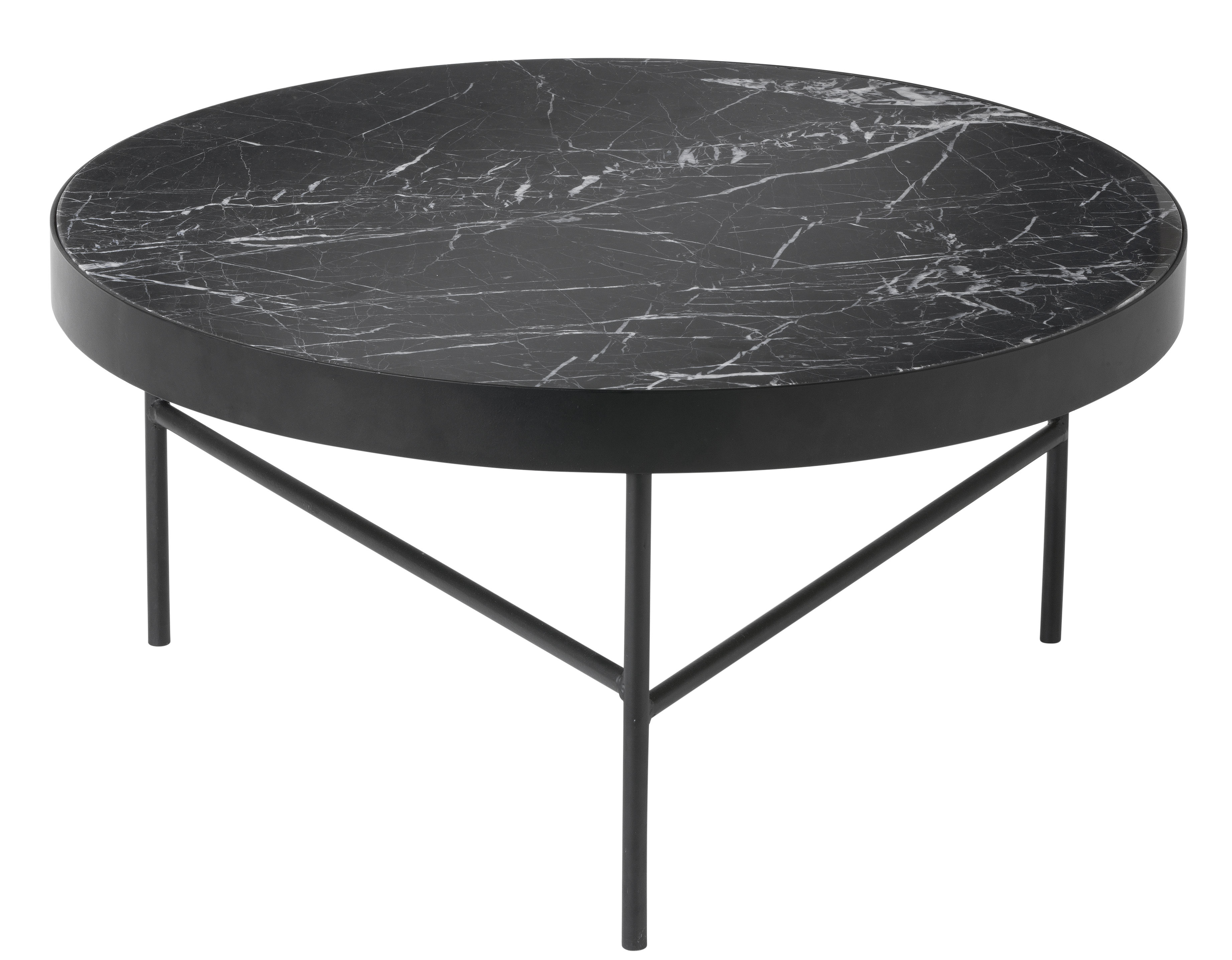 Marble large coffee table 70 5 x h 35 cm black by ferm for Table 70 cm de large