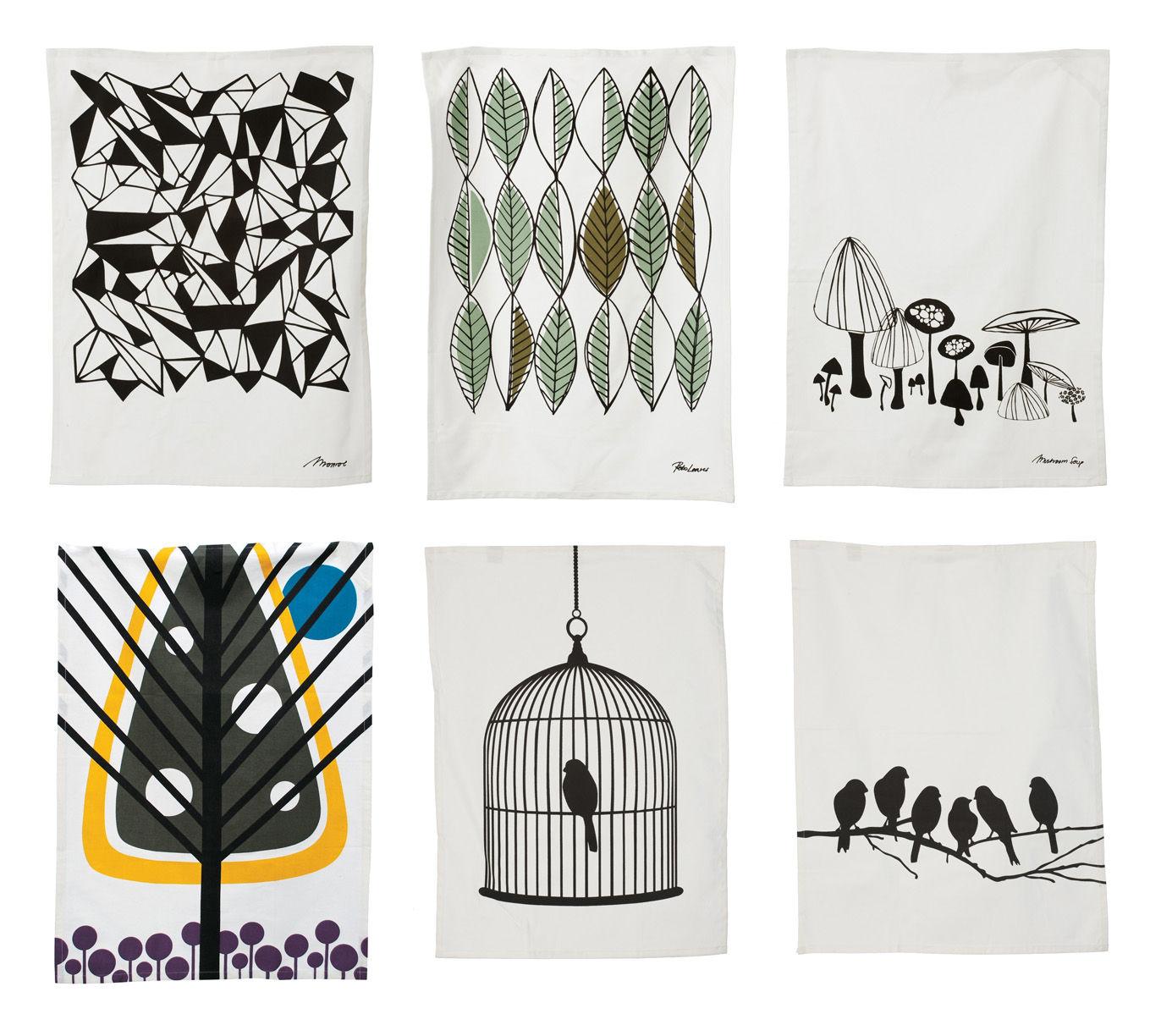 torchon lovebirds motif oiseaux sur branche ferm living. Black Bedroom Furniture Sets. Home Design Ideas
