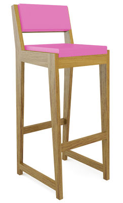Foto Sedia da bar Room 26 - Con schienale di Quinze & Milan - Rovere,Magenta - Materiale plastico