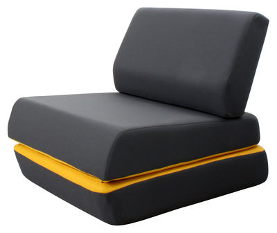 chauffeuse d 39 night version convertible gris anthracite jaune dunlopillo. Black Bedroom Furniture Sets. Home Design Ideas