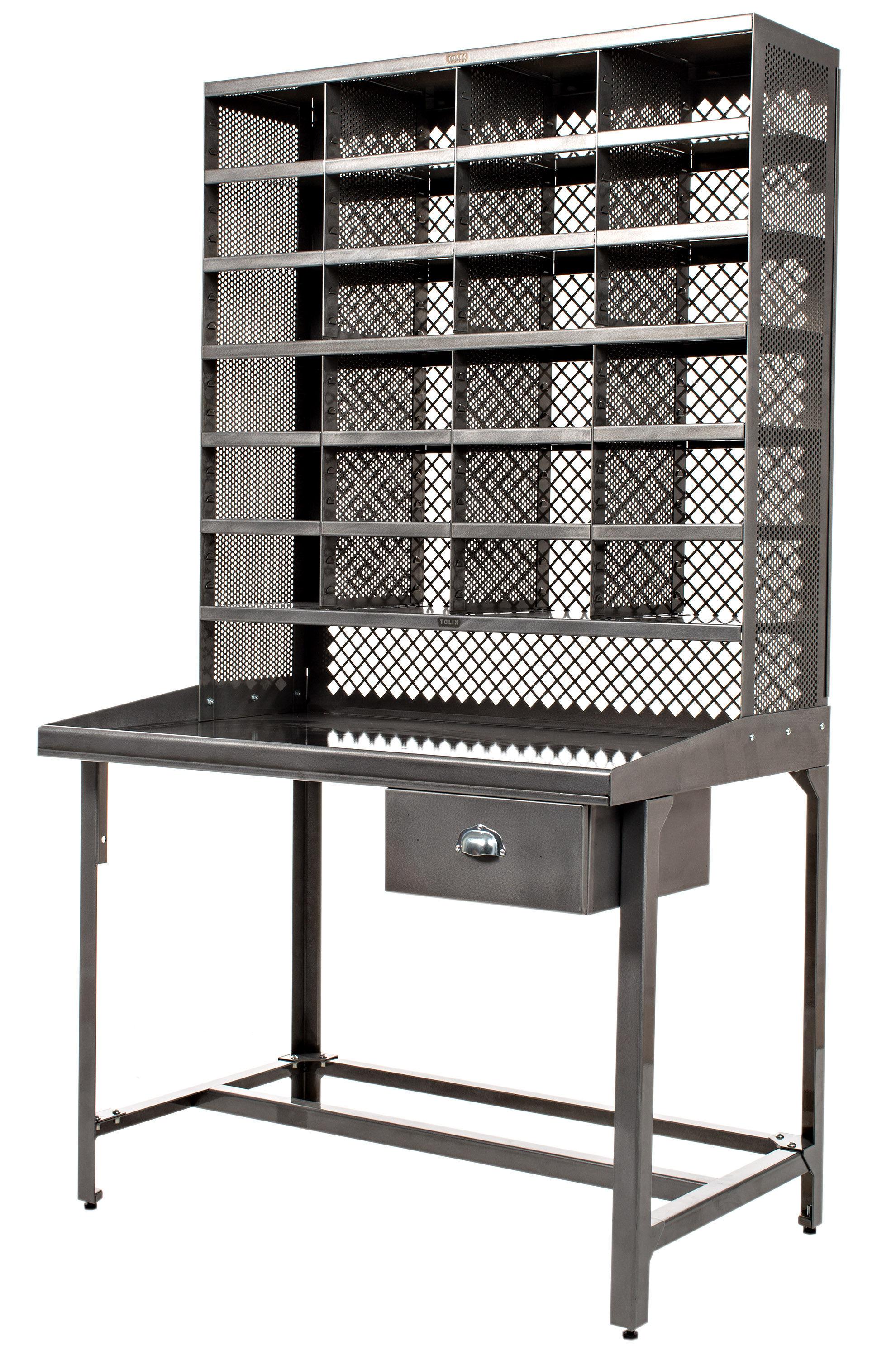 Bureau casier de tri meuble de rangement acier brut verni brillant tolix - Meuble a casier ...
