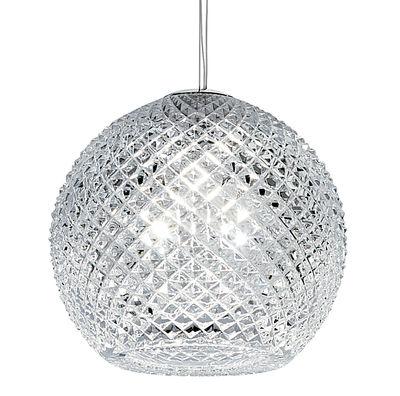 Foto Sospensione Diamond Swirl - Ø 22 cm di Fabbian - Trasparente - Vetro