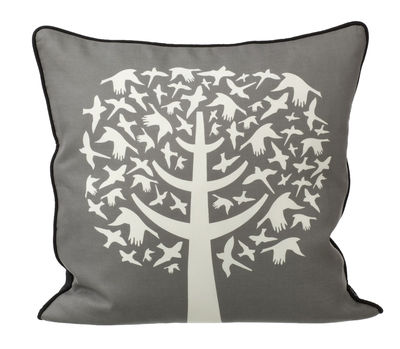 coussin bird leaves 50 x 50 cm blanc gris dos noir. Black Bedroom Furniture Sets. Home Design Ideas