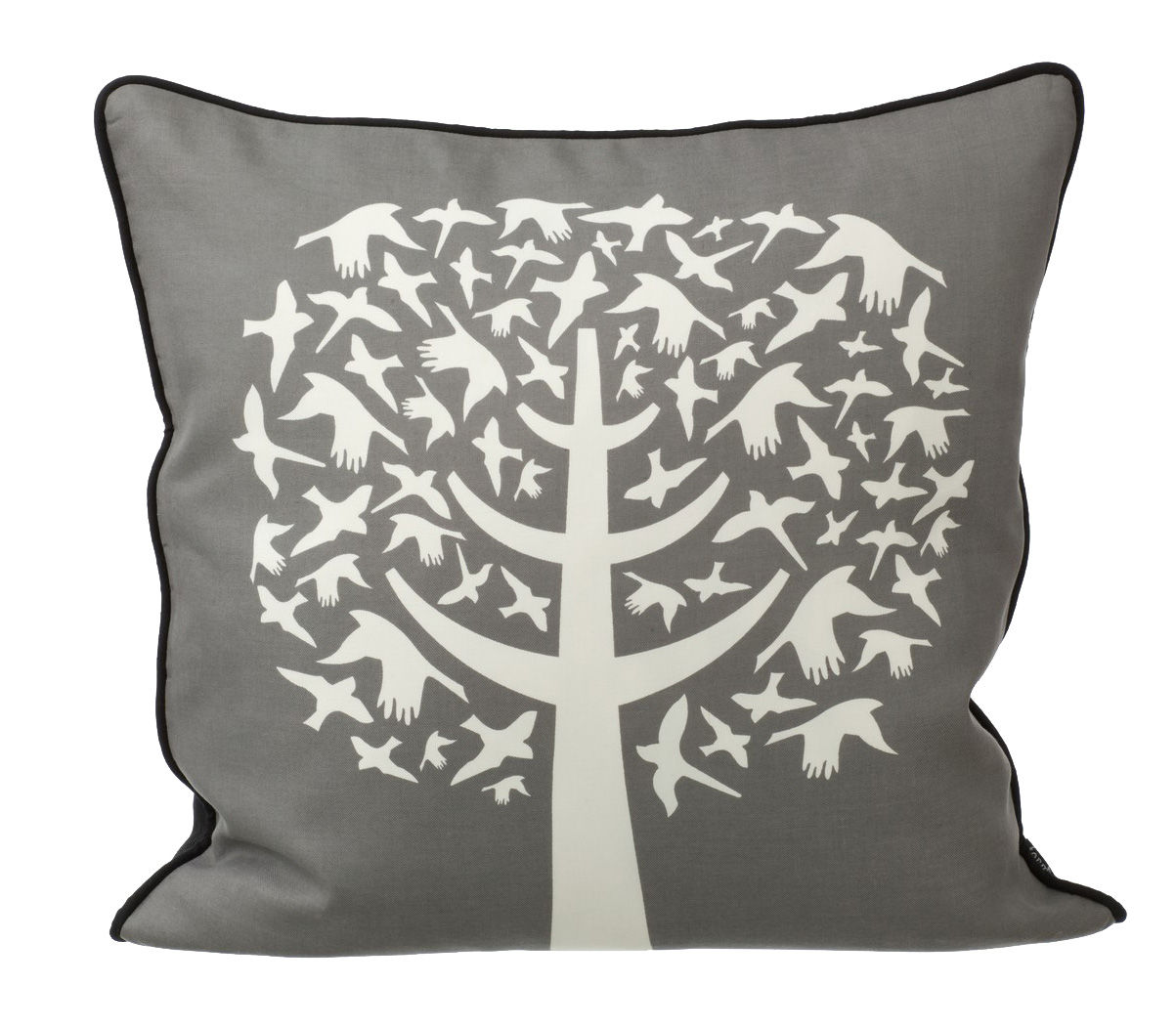 coussin bird leaves 50 x 50 cm blanc gris dos noir. Black Bedroom Furniture Sets. Home Design Ideas