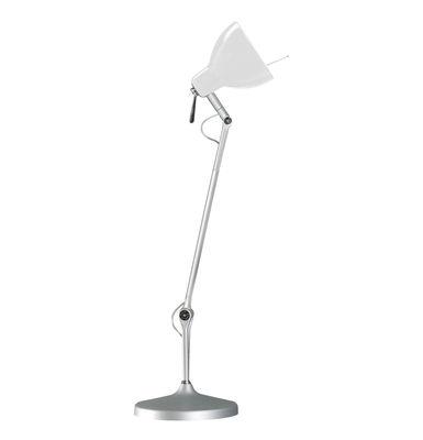 Image of Lampe de bureau Luxy T1 /Bras 3 sections - Rotaliana Métallisé / Abat-jour blanc brillant