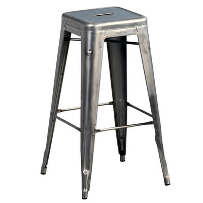 H High stool - Varnished raw steel - H 75 cm
