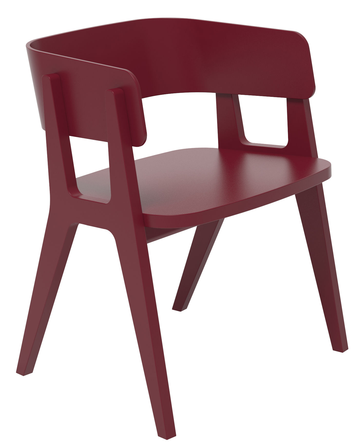 Fauteuil henri bois bordeaux made in design editions - Fauteuil made in design ...