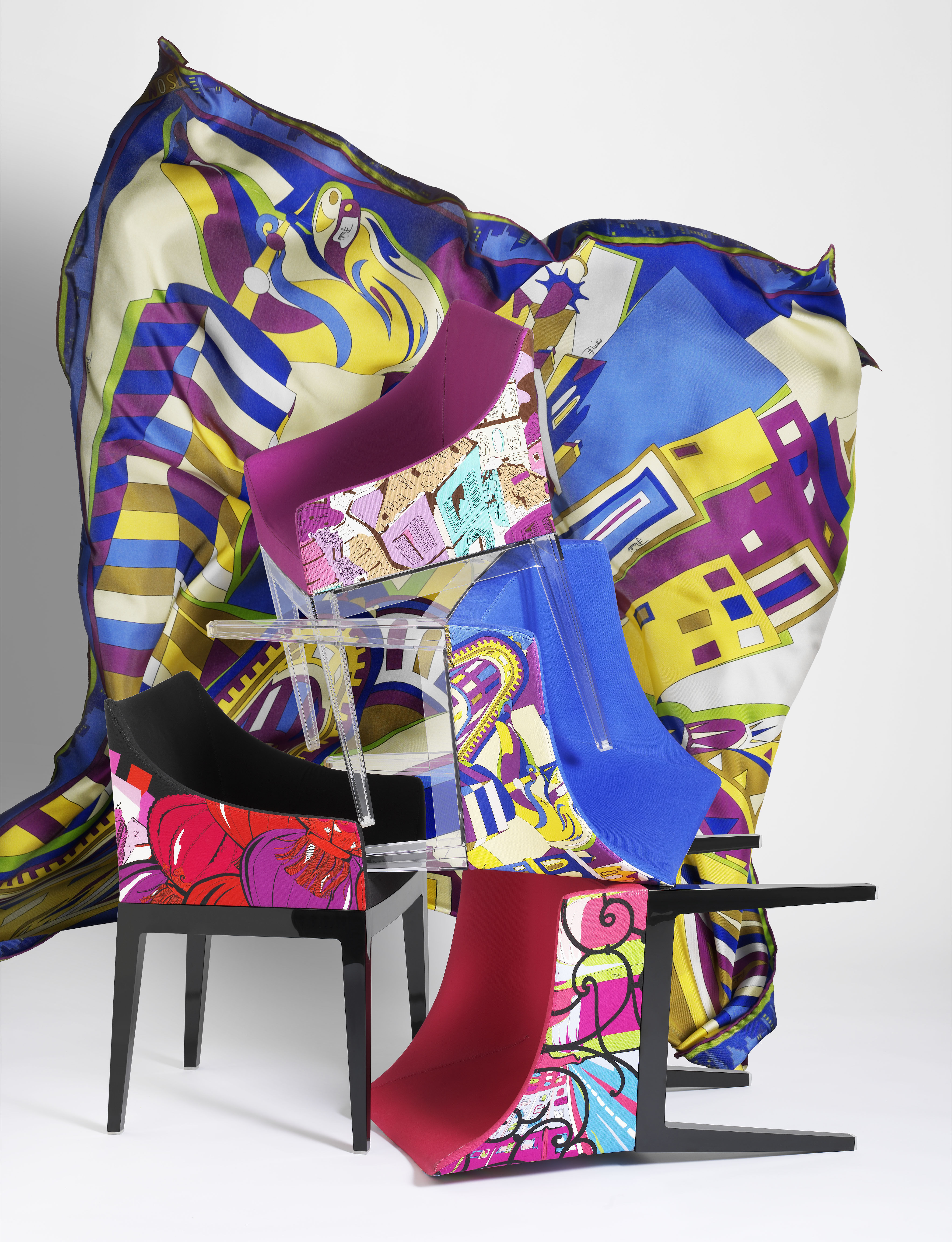 Madame padded armchair emilio pucci fabric rome violet for Miroir philippe starck
