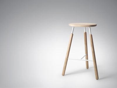 tabouret de bar raft bois m tal h 70 cm bois naturel blanc and tradition. Black Bedroom Furniture Sets. Home Design Ideas