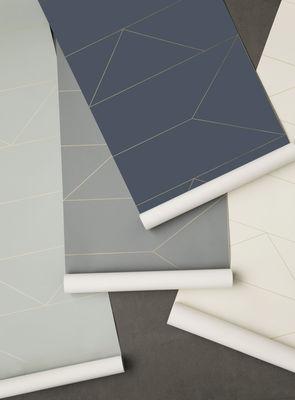 papier peint lines 1 rouleau larg 53 cm bleu or. Black Bedroom Furniture Sets. Home Design Ideas