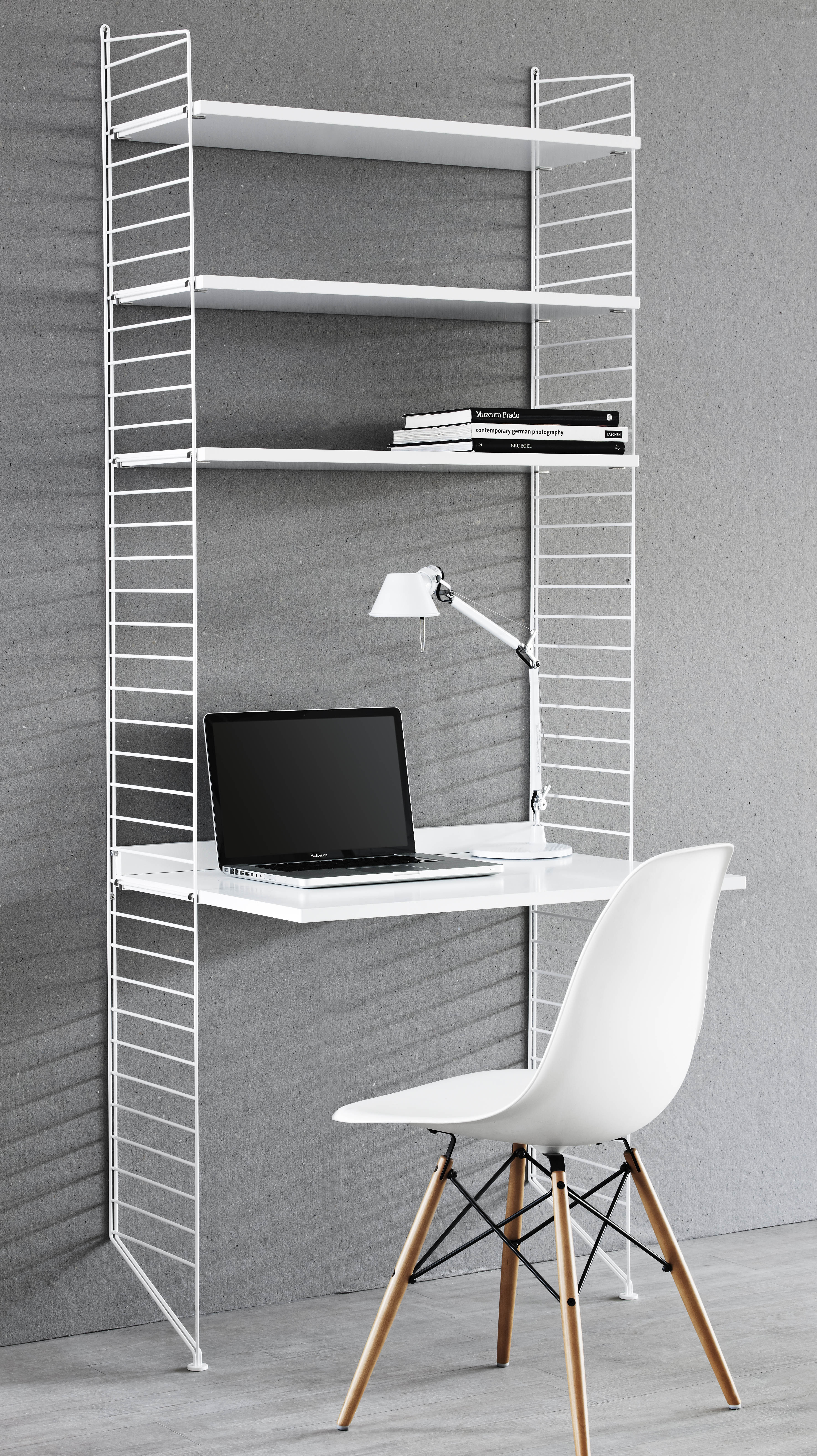 string desk l 78 x h 200 cm white by string furniture. Black Bedroom Furniture Sets. Home Design Ideas
