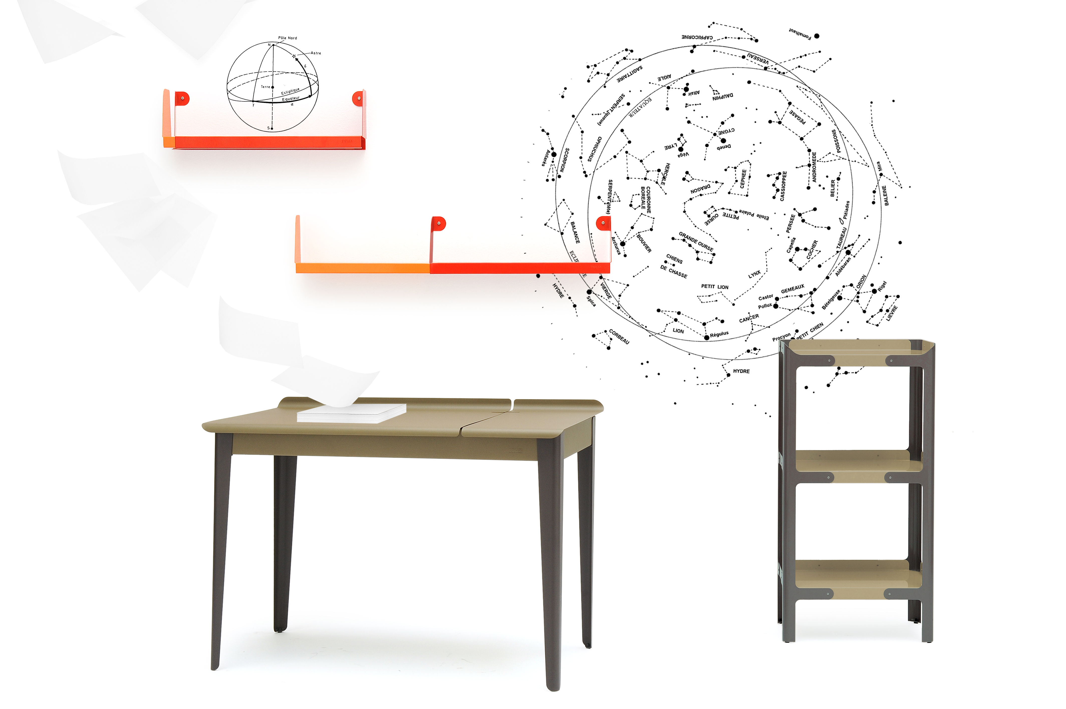 bureau clapet plateau greige pieds anthracite tolix. Black Bedroom Furniture Sets. Home Design Ideas