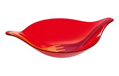 Image du produit Saladier Leaf 3 L + couverts à salade / 48 x 32 cm - Koziol Rouge en Matière plastique