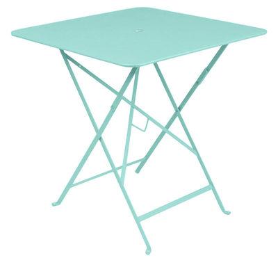 Foto Tavolo pieghevole Bistro - /  71 x 71 cm - Foro per parasole di Fermob - Blu laguna - Metallo