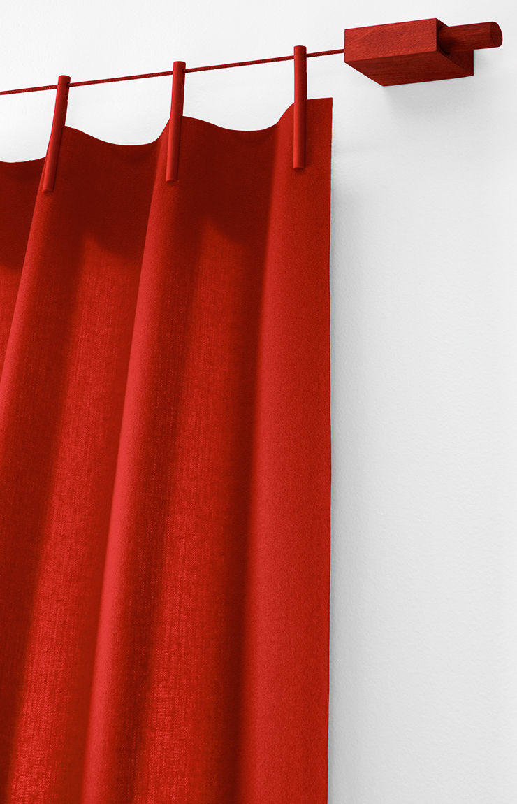 kit ready made rideau fixation laine l 140 x h 300 cm rouge kvadrat. Black Bedroom Furniture Sets. Home Design Ideas