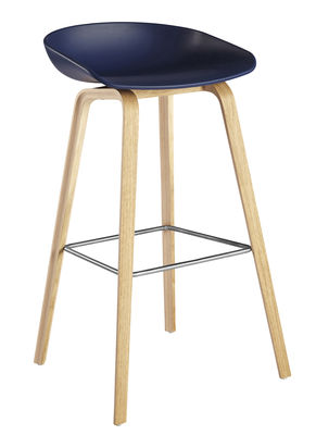 Tabouret de bar about a stool aas 32 h 75 cm plastique pieds bois b - Tabouret bar plastique ...