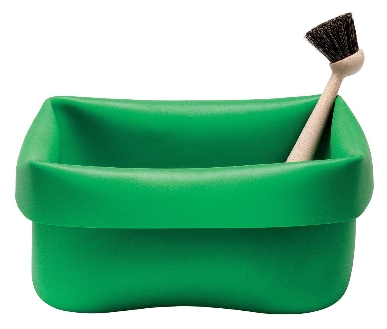 Bassine washing up bowl en caoutchouc avec brosse vert for Bassine caoutchouc