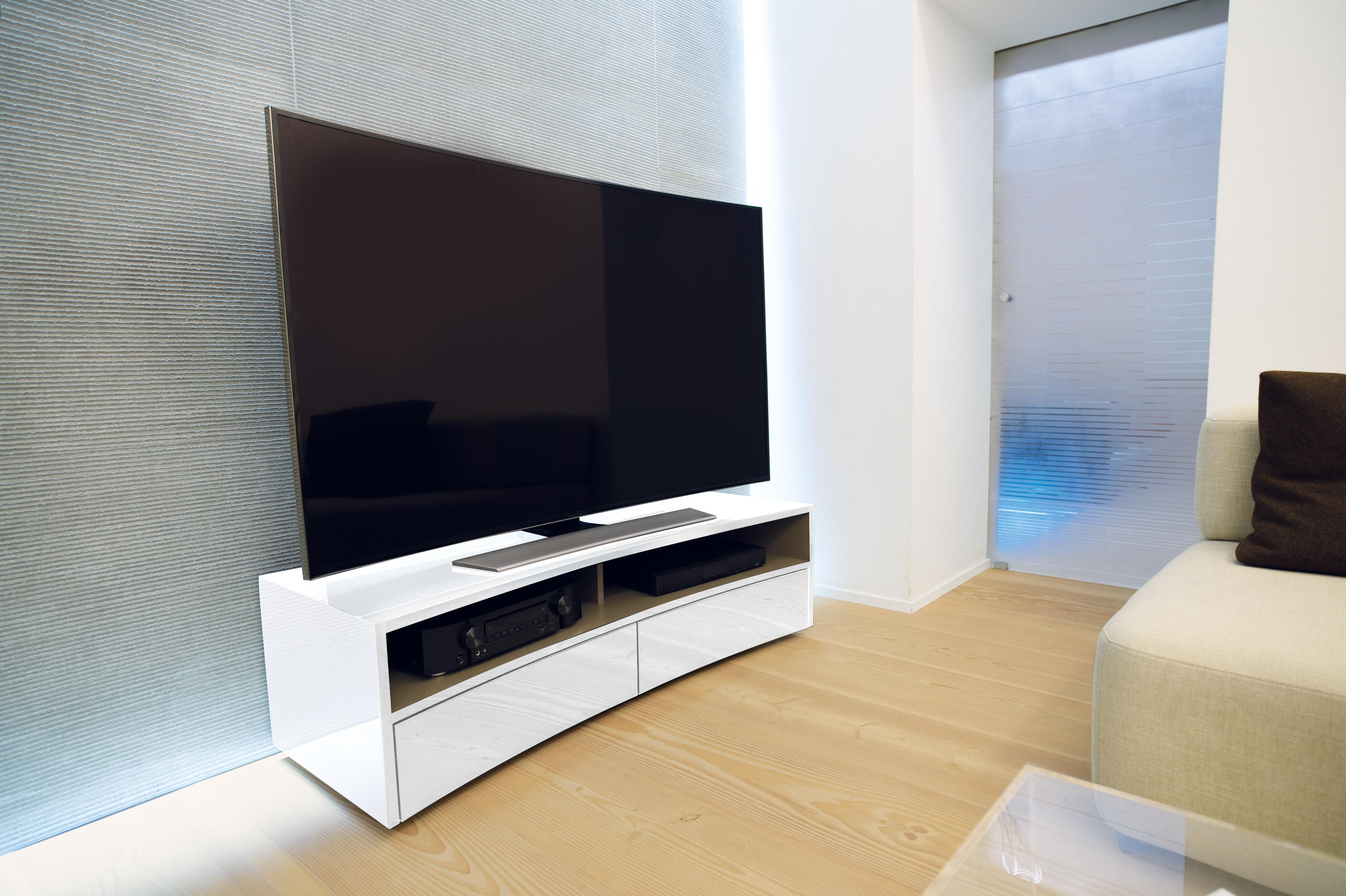 meuble tv valmy pour cran incurv l 150 cm noir norstone. Black Bedroom Furniture Sets. Home Design Ideas