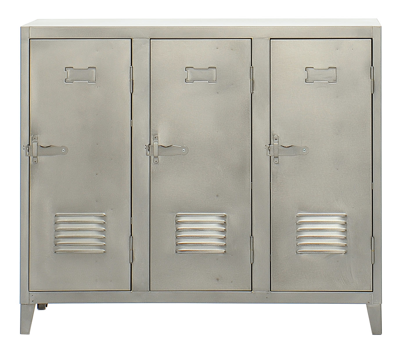 Rangement vestiaire bas 3 portes acier acier brut for Meuble bas 3 portes