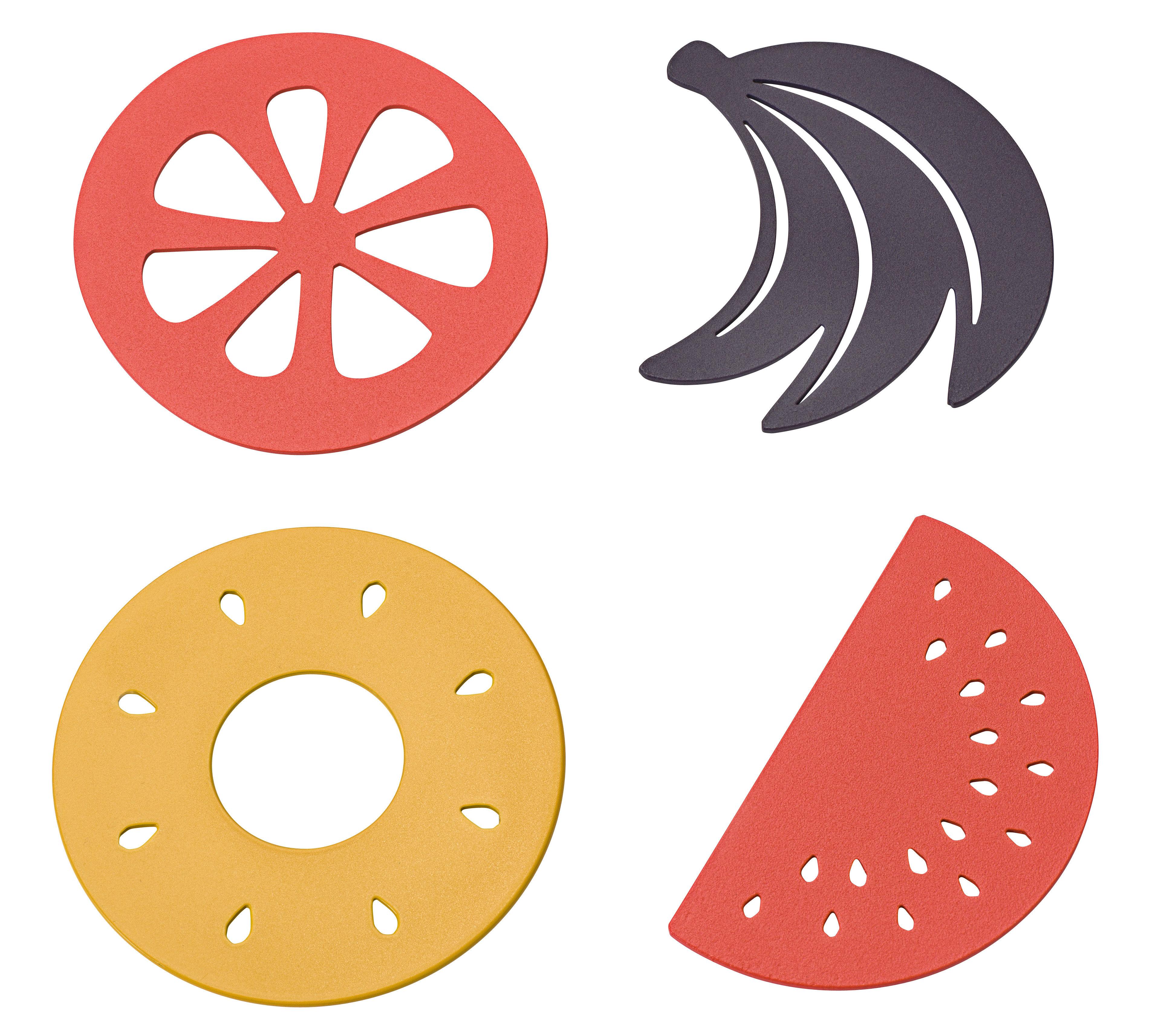 Dessous de plat corbeille de fruits lot de 4 acier miel prune capucine fermob - Dessous de plat en metal ...